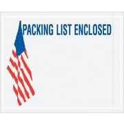 "Staples Packing List Envelope, 4 1/2"" x 5 1/2"", 2 Mil - U.S.A. Flag Panel Face, ""Packing List Enclos, 1000/Case"