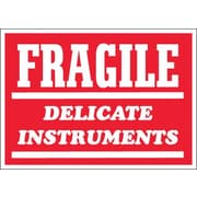 "Labels, ""Fragile - Delicate Instruments"", 3"" x 4"", Red/White, 500/Roll"