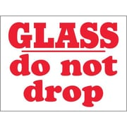 "Tape Logic® Labels, ""Glass - Do Not Drop"", 3"" x 4"", Red/White, 500/Roll"