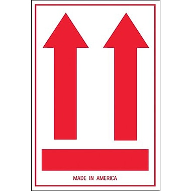 Tape Logic® Labels, (Two Red Arrows Over Red Bar), 4