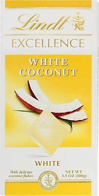 Lindt Excellence White Chocolate Coconut Bars, 3.5 oz. Bars, 12 Bars/Box (438020)