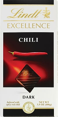 Lindt Excellence Chili Dark Chocolate Bars, 3.5 oz. Bars, 12 Bars/Box (438092)
