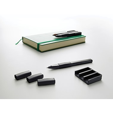 Moleskine Writing Accessories Set, 3 Slip-on grips + Pen holder, Black