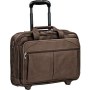 "15.6"" Rolling Laptop Case, Full-Grain Leather, 17 x 8 x 13-12, Espresso"