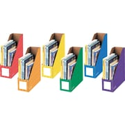 "Bankers Box® Magazine File Holders, 13""H x 4 1/4""W x 12 1/4"", Assorted Colors, 6/Pk"