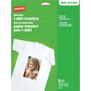 "Staples® T-Shirt Transfers For Light Fabric, 8-1/2"" x 11"", 6-Sheets"