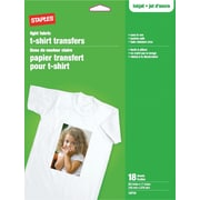 "Staples® T-Shirt Transfers For Light Fabric, 8-1/2"" x 11"", 18-Sheets"