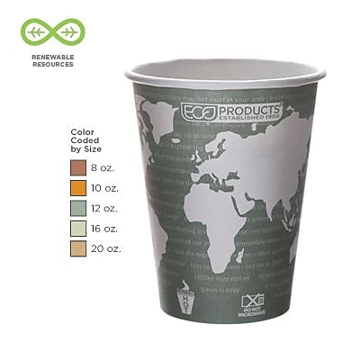 Eco-Products® World Art™ Renewable and Compostable PLA Plastic Hot Drink Cups