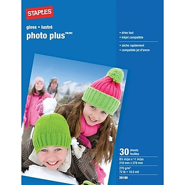 Staples® - Papier Photo Plus, 8 1/2 po x 11 po, paq./30