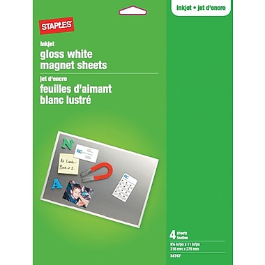 Staples® Magnet Sheets, Gloss White, 4-Sheets