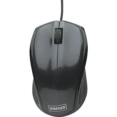 Staples® Corded Optical Mouse, Black