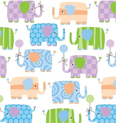 Shamrock Baby Elephants Gift Wrap, Half Ream