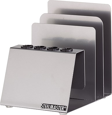 MMF SteelMaster® Soho Collection Pen and Note Holder, Silver