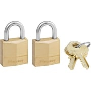 Master Lock® Three-Pin Brass Tumbler Locks, 2/Box