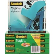 "Scotch® Blue Sandal Shoe Tape Dispenser with Magic™ Tape, 3/4"" x 1000"", 12/Pk"