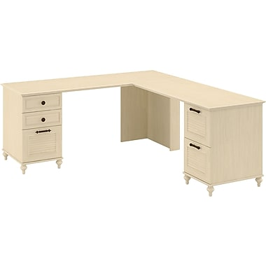 kathy ireland by Bush® – Bureau en L à double caisson Volcano Dusk, Driftwood Dreams