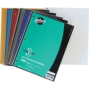 "Hilroy 3-Subject Notebooks, 10-1/2"" x 8"", Assorted, 3-Hole Punched"