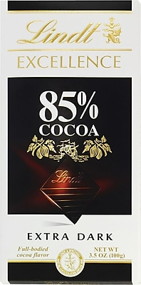 Lindt Excellence 85% Cocoa Dark Chocolate Bars, 3.5 oz. Bars, 12 Bars/Box (392851)