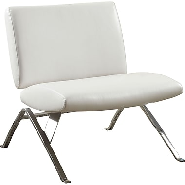 Monarch® - Chaise aspect cuir d'allure moderne avec garnitures en chrome, blanc