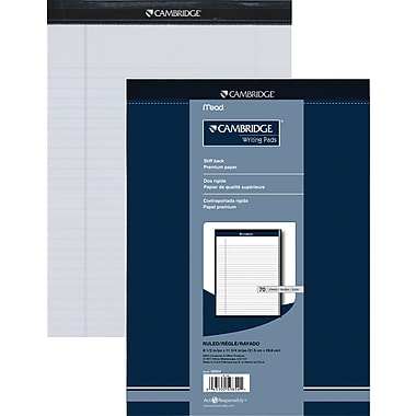 Cambridge® – Tablette de papier de qualité supérieure, 8 1/2 po x 11 3/4 po, ligné large, blanc, 70 feuilles