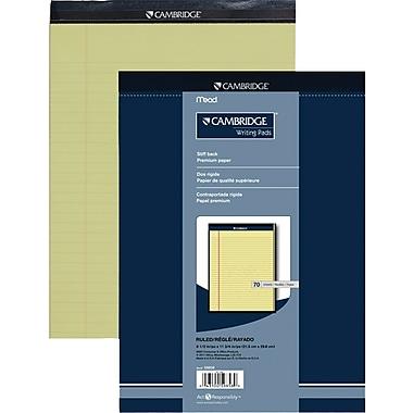 Cambridge® – Tablette de papier de qualité supérieure, 8 1/2 po x 11 3/4 po, ligné large, canari, 70 feuilles