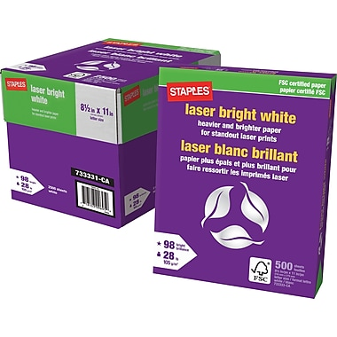 Staples FSC-Certified Bright White Laser Paper, 28 lb., 8-1/2