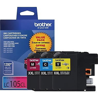 Brother LC105 Innobella™ XXL Series Colour (Cyan/Magenta/Yellow) Ink Cartridges, Super High Yield, 3/Pack (LC1053PKS)