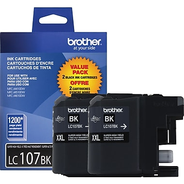 Brother LC107 Black Ink Cartridges (LC1072PKS), Super High Yield 2/Pack