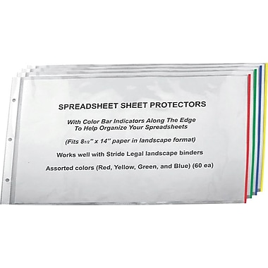 Stride Easy Fit Landsacape Sheet Protectors with Color Bar Indicators, 8 1/2