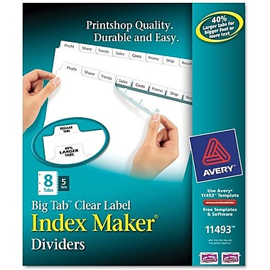 Avery® Index Maker Clear Label Presentation Dividers, 8-Tab,White, 5 Set/Pack