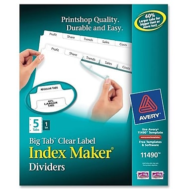 Avery® Index Maker Clear Label Presentation Dividers, 5-Tab, Color White, 1 Set/Pack