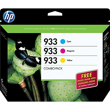 HP 933 C/M/Y Color Ink Cartridges (B3B32FN), Combo 3/Pack (DISCONTINUED)