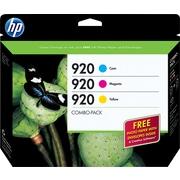HP 920 C/M/Y Color Ink Cartridges (B3B30FN), Combo 3/Pack