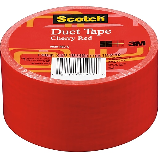 "Scotch® Brand Duct Tape, Cherry Red, 1.88"" x 20 Yards at ..."