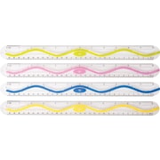 "Westcott® Wave Plastic Ruler, 12"", Assorted Colors"