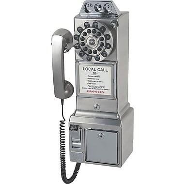 Crosley Radio 1950's Pay Phone, Brushed Chrome