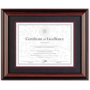 "Burnes Plastic Two-Tone Desk/Wall Document Frame, Walnut/Black, 11"" x 14"""