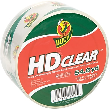 Duck® HD Clear High Performance Crystal Clear Packing Tape, 1.88