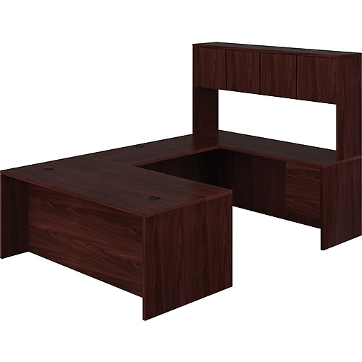 HON 10500 Series Bundle Solutions Left U-Station with Stack-On Storage,  Mahogany, 72\