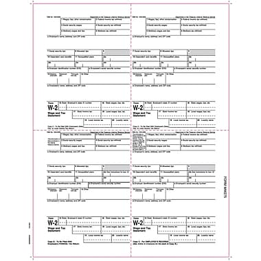 TOPS® W-2 Tax Form, 1 Part, Employee's copies cut sheet, 24 lb, White, 8 1/2 x 11, 2000 Sheets/Carton