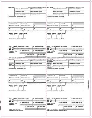 TOPS® W-2 Tax Form, 1 Part, Employee's copies cut sheet, 24 lb, White, 8 1/2 x 11, 2000 Sheets/Carton