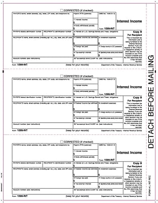 TOPS® 1099 Interest Income Tax Form, 1 Part, White, 8 1/2