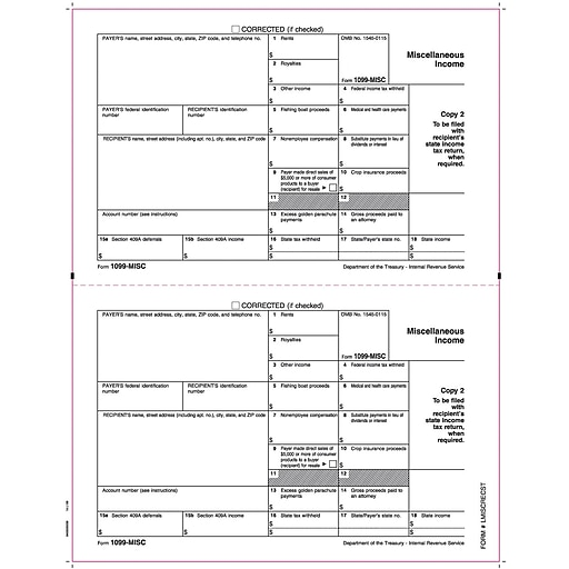 TOPS® 1099 MISC Income Tax Form, 1 Part, State-Copy 2, White, 8 1/2