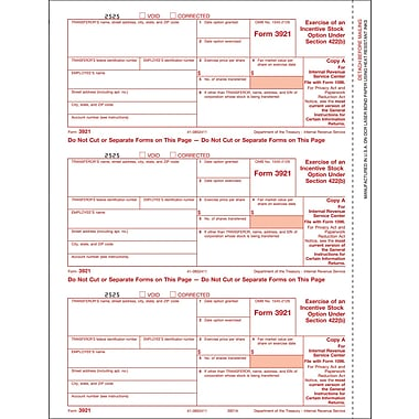 TOPS® 3921 Tax Form, 1 Part, Federal - Copy A, White, 8 1/2