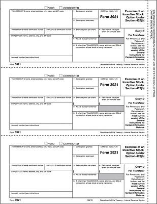 TOPS® 3921 Tax Form, 1 Part, Transferor - Copy D, White, 8 1/2