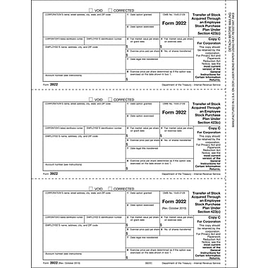 TOPS® 3922 Tax Form, 1 Part, Corporation - Copy C, White, 8 1/2