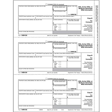 TOPS® 5498ESA Tax Form, 1 Part, Beneficiary, Coverdell ESA Contribution Information - Copy B, 50 Sheets/Pack