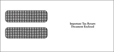 "TOPS® Gummed W-2 Double Window Envelope, 24 lb., White, 3 7/8"" x 8 1/4"", 100/Pack"