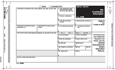 TOPS® 5498 Tax Form, 2 Part, Mailer, White, 9