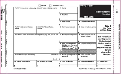 TOPS® 1099MISC Tax Form, 2 Part Mailer, White, 9